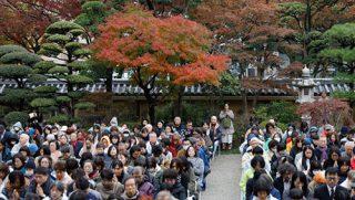 福岡の東長寺で行われた追悼法要で、ダライ・ラマ法王のお話に聴き入る1,500人の聴衆。2018年11月22日、福岡(撮影:テンジン・ジグメ / 法王庁)